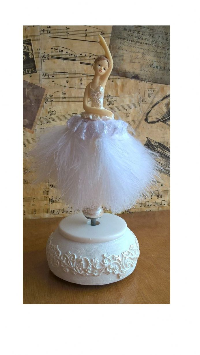 Ballerina figurine dances to the tune Blue Danube